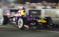 دانيال ريكاردو يستعرض بسيارة فورمولا 1 في دبي